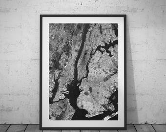 New York Print, New York Map, Black-White Photo, Wall Art, Printable Poster, Digital Download, 4JPG's