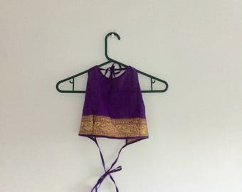 Purple & gold tie-up top