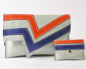 Madelyne/Pale Green Clutch with Orange and Blue Stripes with Matching Coin Purse