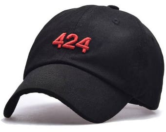 New Red 424 Embroidered Adjustable Snapback FourTwoFour Hat Cap Black