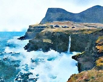 Waterfall Faroe Islands Original Watercolour Painting Q345