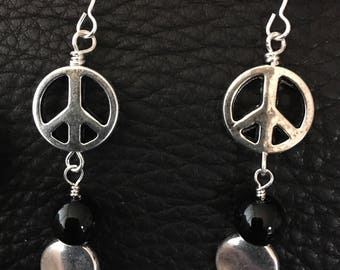 Peace Earrings with Black Beads