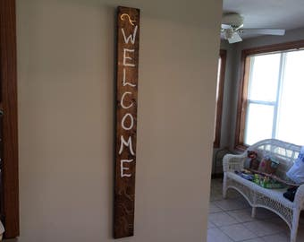 Wood Stained Welcome Sign