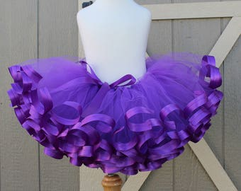 Purple satin trimmed tutu, photo prop, birthday outfit