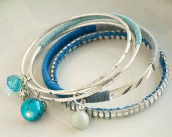 Blue Silver Bangles Bracelet Set