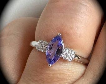 "Tanzanite Ring 9ct White Gold Size Q  ""Certified AA"" - Beautiful Design"