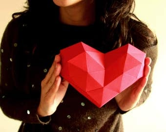 Heart Papercraft, PDF template and instructions, Mothers day, Valentines day, Gifts for her, Gifts for mom, Low Poly Model, Heart Low Poly