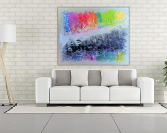"Abstract modern painting 100X80cm, ""Shades"" - Original acrylic painting on canvas, Handmade art, Shipping worldwide, By Oz Moskovich"