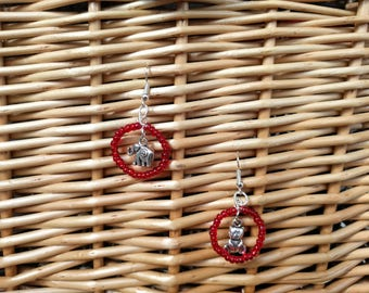 Red Beads with Silver Charms Handmade Earrings