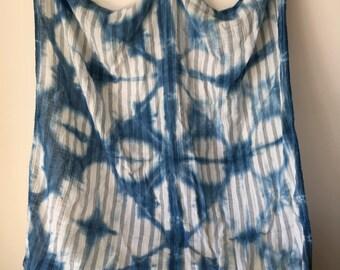 New indigo hand-dyed swaddle cloth - shibori style