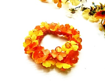 Hair Scrunchie Cotton Ponytail Holder Flower Blossom Embroidery Crochet Elastic Wrap Hair Ties Orange Yellow Floral Glass Pearls Accessories