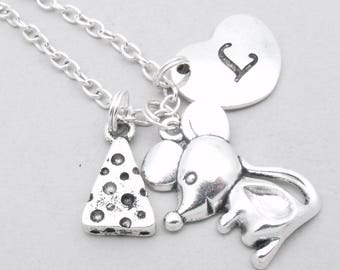 Mouse with cheese heart initial necklace | mouse charm necklace | mouse pendant | personalised mouse necklace | mouse jewelry | letter