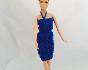 Party Blue Halter Dress