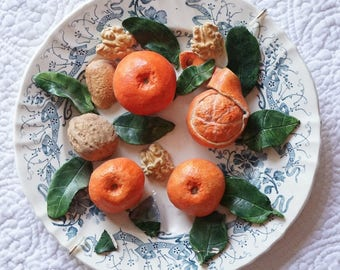 """Christine Viennet French Art Pottery Trompe L'oeil Plate """"Clementines & Walnuts"""""""