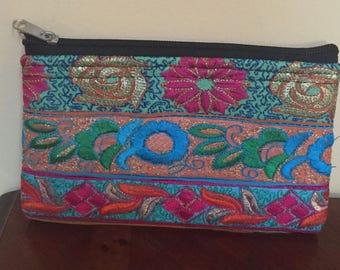 Flower Power Hand Embroidered Zipper Pouch