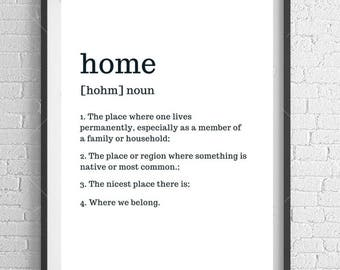 Home Definition Typography Print A4 Wall Art