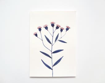 Original Painting, A5, Blue Flowers