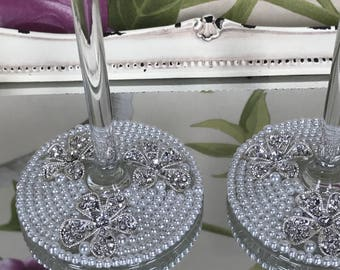 Lola - Pair of Hand Embellished Wedding Champagne Flutes with White Pearls and Crystal Flowers - Preloved, Upcycled, Bespoke