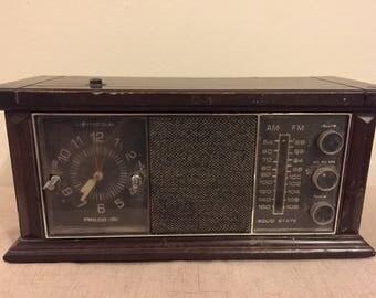 Working Philco Ford Wood Radio, AM, FM, AFC,  Clock, Vintage