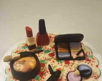 Fondant Makeup Set With Mat Included Cake Topper. Fondant Makeup Set With Hand Printed Vintage Mat Included.