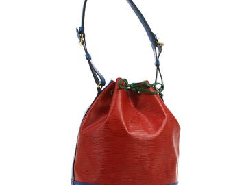 Louis Vuitton Vintage Authentic Noe Drawstring Shoulder Hand Bag Purse Tricolor Red Blue Green M44084 YG00834