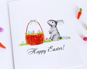 """SALE! Watercolour Easter Bunny """"Happy Easter"""" Greeting Card"""