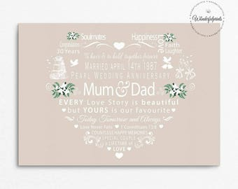 "Personalised 30th Pearl Wedding Anniversary Print, For Mum and Dad, 1 Cor 13 8, For Couple, Love never Fails, A4 Print or 8""x10"" Mounted"