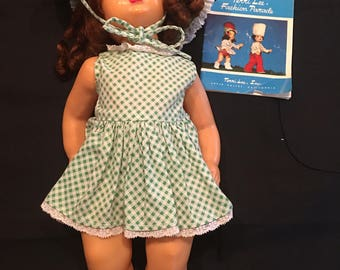 Vintage Terri Lee Doll -  16 inch Brunette along with Terri Lee Fashion Parade Booklet