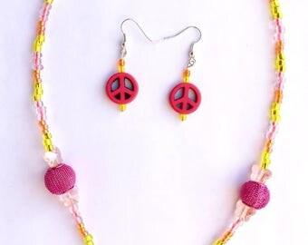 Flower Power necklace/earring set