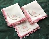 """3 Vintage Hankies with Pink flowers and Crochet Edging 12"""" x 11"""""""