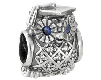 Genuine CHARM Owl Graduate Bead SILVER CHARMING for Pandora jewelry Sterling Silver S925