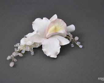 White orchide hair clip  Prom orchid hair piece Wedding  flower head piece  Bridal Orchid hair accessories  Tropical Hair clip