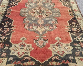 """Oushak Rug,Vintage Turkish Old Rugs,Home Living Area Rugs,4'8""""×7'7""""feet,Pastel Colors, Pale red,blue and gray colors,Cappadocia carpet,"""