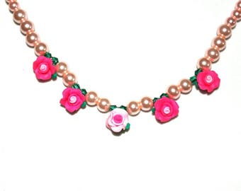 Pink Necklace with Earrings
