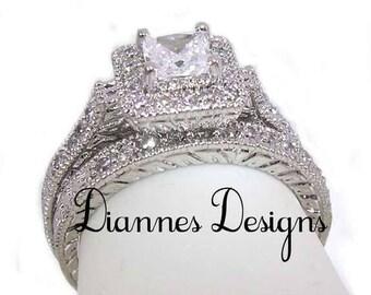 Vintage Inspired Filigree 1 Carat Princess Wedding Ring Set