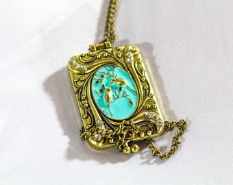 Handmade Vintage Style Bird Locket Necklace, Antique Bronze,