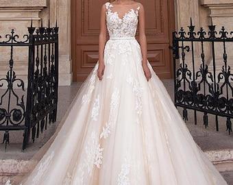 Romantic Robe De Mariage Vestido De Noiva Sheer Backless A-Line Lace Wedding Dress
