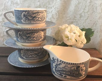 Vintage Currier & Ives By Royal Teacups Saucers and Creamer - 9 Pc Set