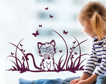 Window image cat with butterfly meadow (M1371)