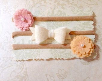 Organic Baby Girl Felt Bow and Two Flower Headband or Hair Clip Set- Pink, White, and Peach