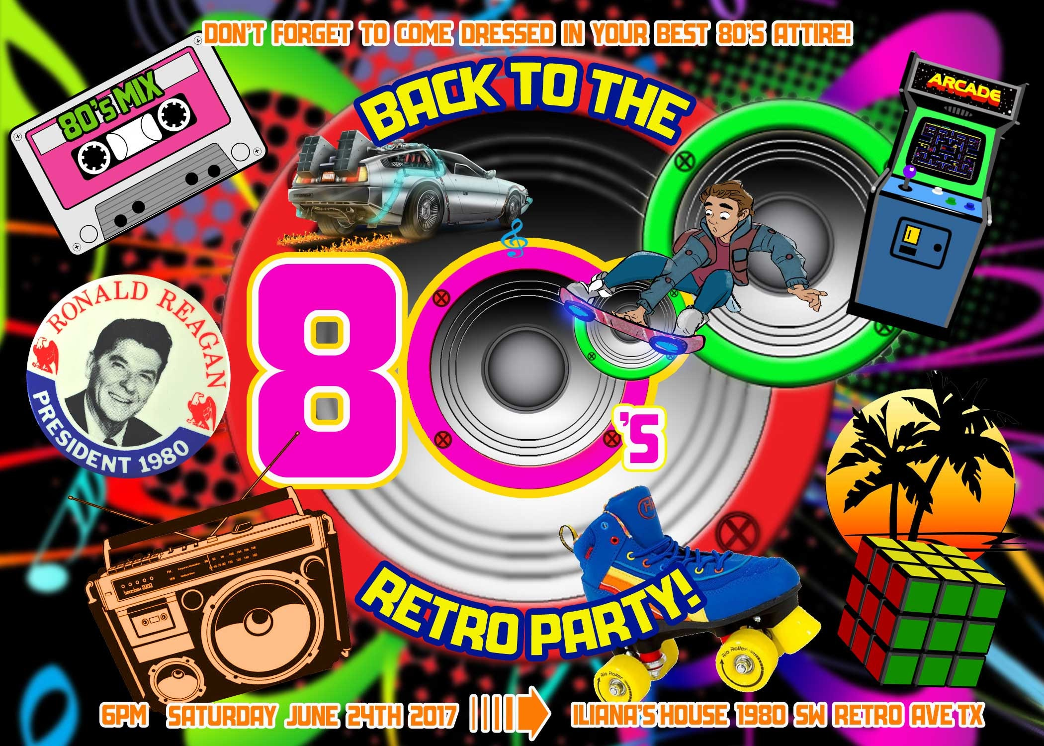 80s Invitation 80s Party 80s Birthday Invitations 80s Invite – 80s Theme Party Invitations