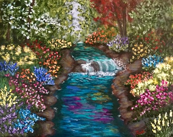 River Painting, Flowers Painting, Nature Painting, Water Painting, Fine Art, Wall Art, Gift