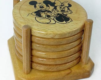 Wooden Coasters Set - Mickey Mouse - Beech Wood