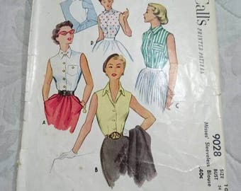 McCall's 1950's Misses Sleeveless Pattern #9028 Size 16