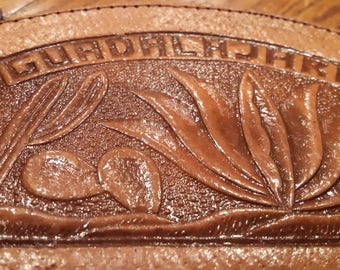 Guadalajara leather toiled coin purse with zipper
