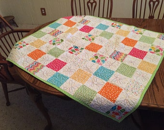 Handmade Baby Girl Quilt, Bright colors Patchwork Quit, Crib Quilt, Baby Blanket, Tummy-Time Mat, Toddler Quilt