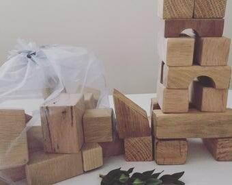 Bag of assorted wooden blocks