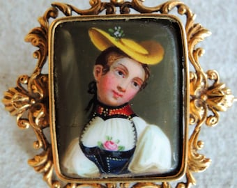 Antique Victorian Enamel Portrait Brooch