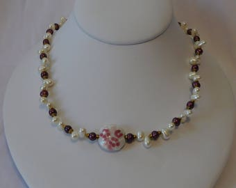 Purple Ivory White Pearl Necklace