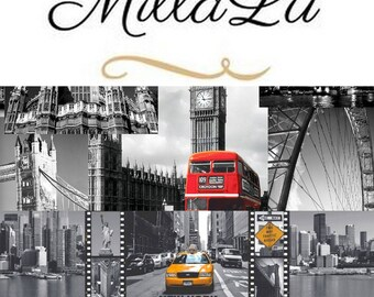 Grey  *LONDON* and *NEW YORK* 100% Cotton Fabric Material By The Metre 160 cm Wide For Quilting, Crafts, Curtains, Soft Furnishings...